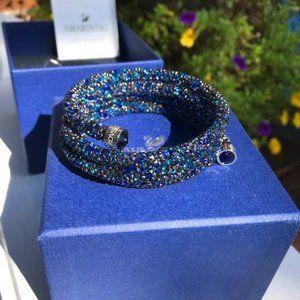 Swarovski Crystaldust Triple Spiral Bangle - Blue Crystals NWT